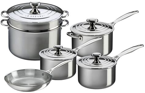 creuset le cookware stainless piece steel sets roll zoom