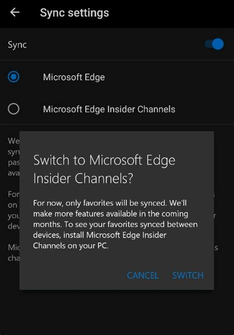 windows 10 s chromium edge browser to sync data with its
