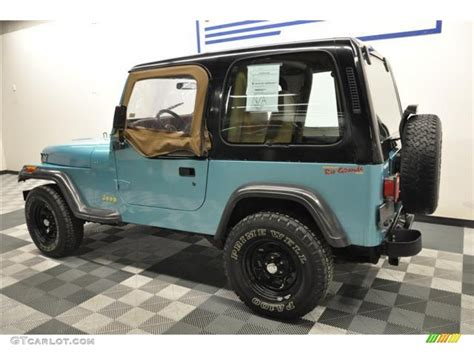 white and teal jeep 1995 teal pearl jeep wrangler s 4x4 62758206 photo 5