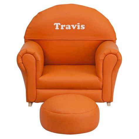 orange vinyl rocking chair and ottoman