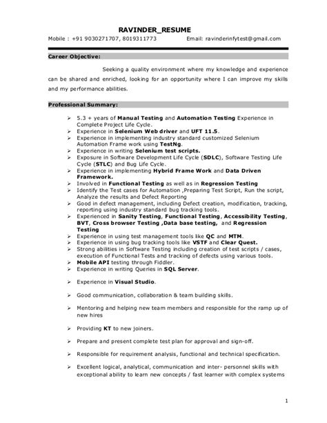 3 years manual testing sle resumes tester cv sle testing resume sle resume cv cover software testing resume sle tester