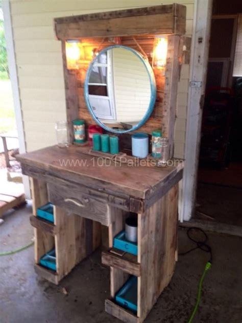 makeup vanity   reclaimed wooden pallets cool