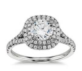 two engagement rings duet halo engagement ring in 18k white gold 1 2 ct tw blue nile