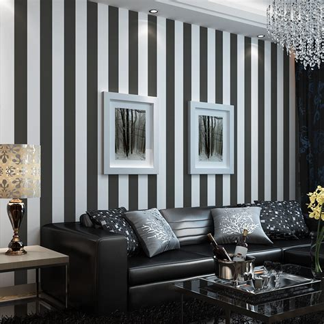 beibehang  roll black  white wide stripe wallpaper