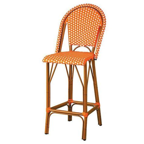 woven resin wicker faux bamboo outdoor high back bar stool