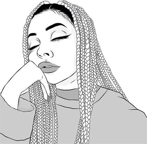 Tumblr Coloring Pages Girl Braids