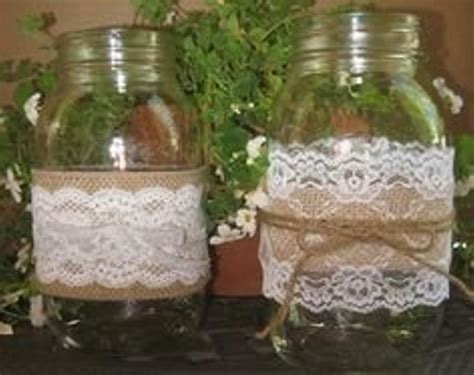 mason burlap and lace and plum ribbon 3 sizes of jars with