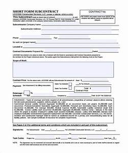 subcontractor contract template 10 download documents With contract for subcontractors template