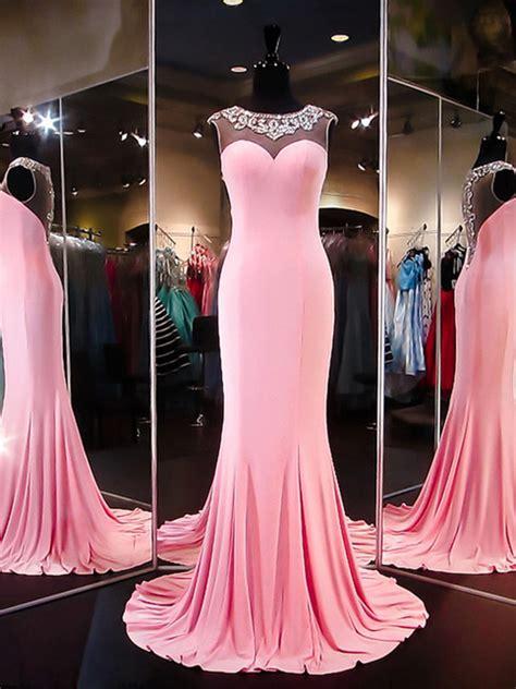 neon prom dressespink sheathcolumn scoop floor length