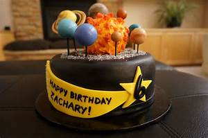 Solar System Birthday Cake With Fondant Planets ...