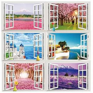 Wholesale 3D Window Ocean Beach Wall Sticker Decals Room ...
