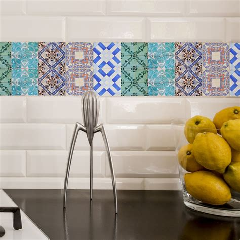 kitchen backsplash stickers portuguese tiles stickers maceira pack of 16 tiles