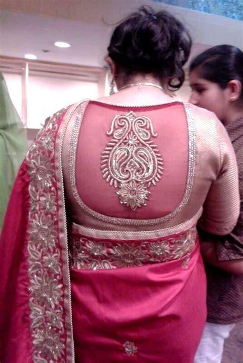golden net aari work blouse  design photo gallery