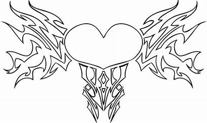 Pages Hearts Coloring Heart Printable Drawings Wings