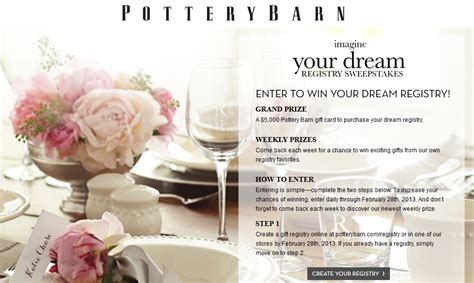Pottery Barn Gift Card Discount by Pottery Barn Imagine Your Registry Sweepstakes Win