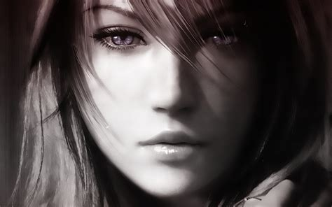 Final Fantasy Lightning Farron Monochrome Wallpaper