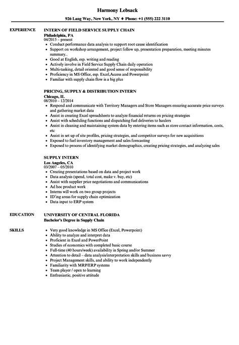 supply intern resume samples velvet jobs