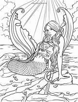 Coloring Mermaid Mythical Adults Siren Adult Printable Coloriage Fantasy Mystical Mermaids Ocean Mandala Animals Sea Sheets Blank Colorear Dibujos Drawings sketch template