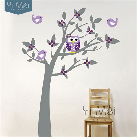 owl birds vinyl wall stickers tree branches decalsfor