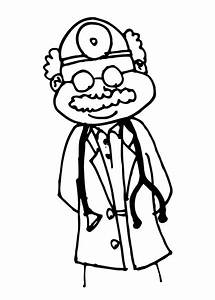 Kid doctor clipart black and white