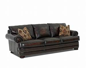 Klaussner montezuma ld43800 s leather sofa with rolled for Klaussner leather sectional sofa