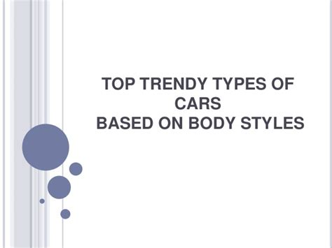 Top Trendy Types Of Cars Based On Body Styles