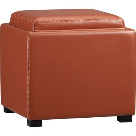crate and barrel stow storage ottoman stow persimmon leather storage ottoman crate barrel i