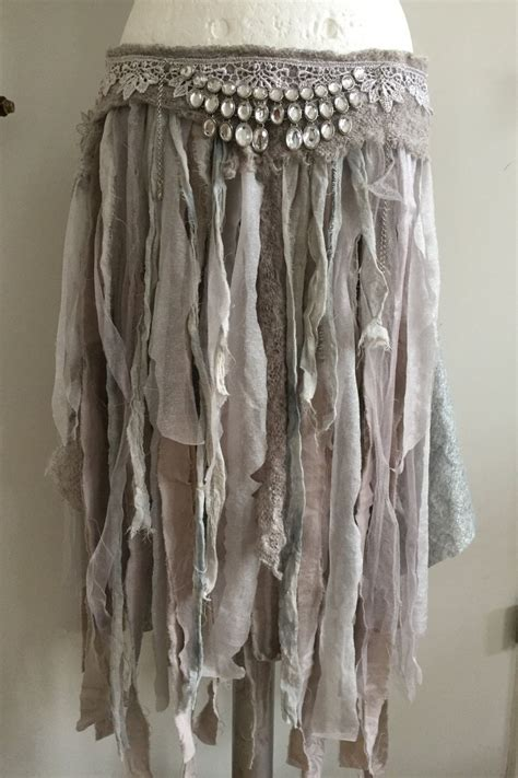 raw rags ragged cotton skirt ripped fabric combined