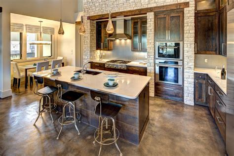 kitchen island pendant lights stained concrete floors farmhouse with mosaic tile