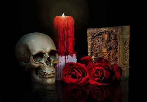skull roses candle book hd wallpaper