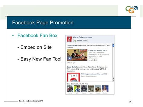 facebook fan page promotion facebook for public relations pr daily presentation