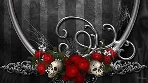 Dark Gothic Red Flower Artistic Skull Rose Design ...