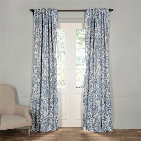 120 inch blackout curtains tea time china blue 120 x 50 inch blackout curtain half