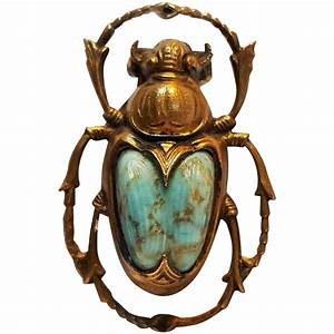 Egyptian Revival Scarab Beetle Dress Clip Molded Glass