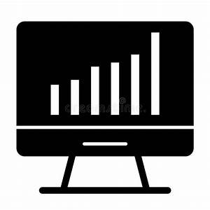 Computer Chart Solid Icon  Computer With Graph Vector