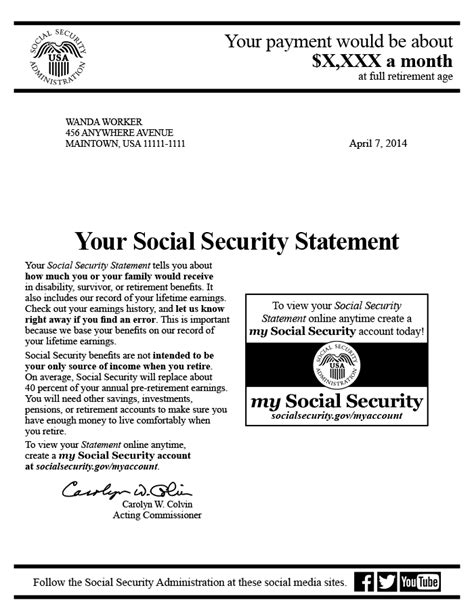 social security benefits letter the social security statement background implementation