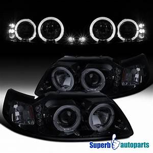 1999-2004 Ford Mustang LED Halo Projector Headlights Glossy Black SpecD Tuning