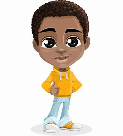 Cartoon Boy African American Clipart Child Afro