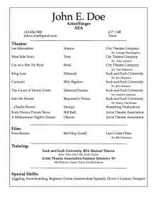 college resume format template professional acting resume sle resumes design