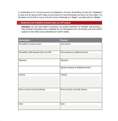remodeling contract templates  ms word google