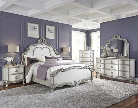 traditional antique white  silver bedroom bedrooms