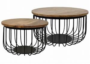 2 piece coffee table set maden mango wood iron With wood and iron coffee table sets
