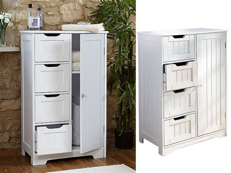 White Wooden 4 Drawer Bathroom Storage Cupboard Cabinet Free Standing Unit Bath 5060497646278 Chest Of Drawers Child Lock Fabric B M 2 Drawer Utility Cart Monitor Riser With White Designs Wooden Argos Single Bed Base Accuride Slides Snap On Easy Living Front Load Washer Stand