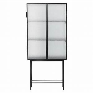 Vitrine Metall Glas : ferm living haze schrank vitrine schwarz metall glas 70x155x32cm ~ Whattoseeinmadrid.com Haus und Dekorationen