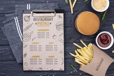 Including multiple different psd mockup templates like cardboard box, cosmetics, coffee cup/mug, shopping bag, car and van mockups. Fast food menu concept mock-up   Free PSD File