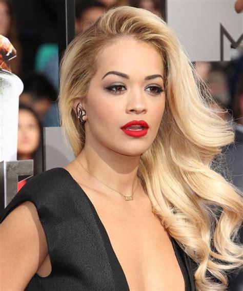 Rita Ora Long Wavy Formal Hairstyle   Light Blonde Hair Color