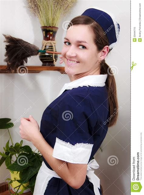 Beautiful Woman With Cleaning Sweep Royalty Free Stock