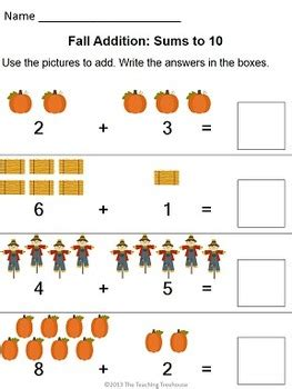 fall addition subtraction within 10 subtraction