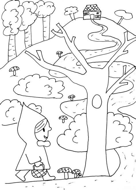 coloriage chaperon rouge dans la foret dessin gratuit
