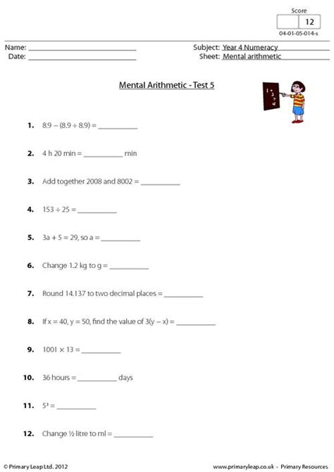 mental arithmetic test 5 primaryleap co uk